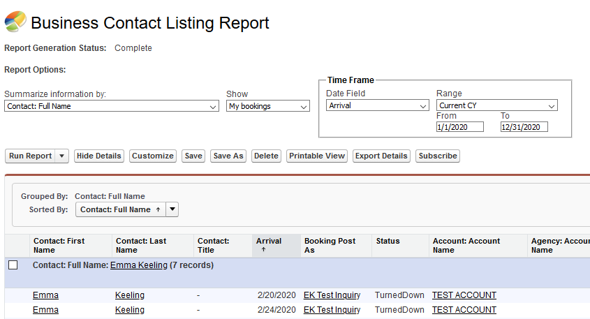 Business Contact Listing Report
